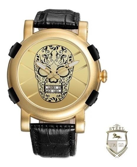Reloj Calavera Sugar Skull Dorado Acero Steel Mexico Craneo