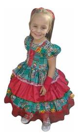 Vestido Festa Junina Caipira Infantil Verde Vermelho + Luva
