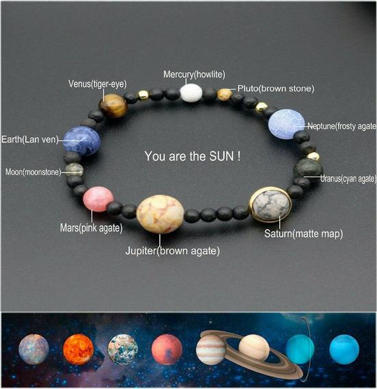 Pulseira Sistema Solar 9 Planetas Terra E Lua Galaxia Lava