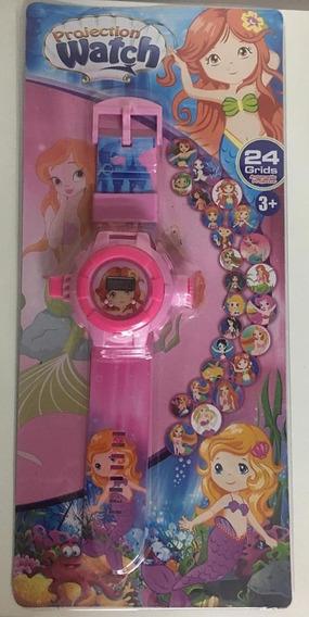 Relógio Infantil Princesa Sereia - Projetor De Imagem
