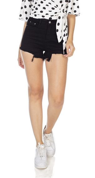 Shorts Jeans Denim Zero Setentinha Black And White-dz6374