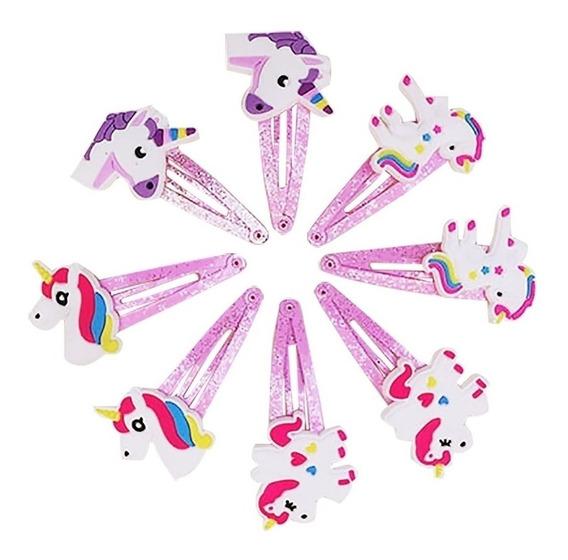 5 Sujetadores De Cabello De Unicornio Color Rosados