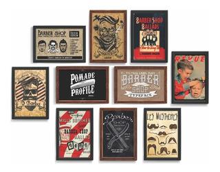 Kit 10 Quadro Decorativo Barbearia Barber Shop Vintage 24x34