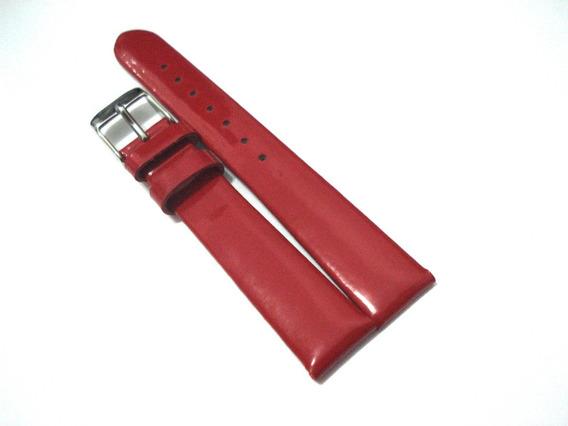 Pulseira 16 Mm Strap Design Vermelha Verniz