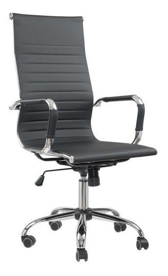 Cadeira Escritório Presidente Giratória Eames Preta Em Couro