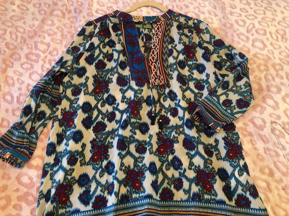 Tunica Rapsodia Seda Sari Flores Camisa Actual! T Ginebra