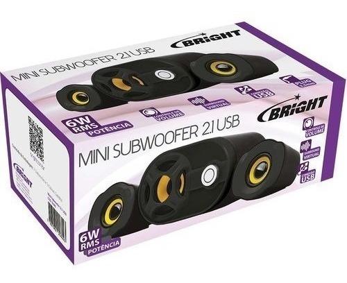 Caixa De Som P/ Pc Bright Subwoofer 2.1 0445 6w Rms