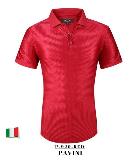 Playera Caballero Tipo Polo Marca Pavini P920 Red 1