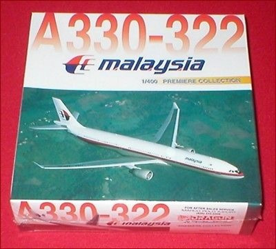 Maquete/miniatura Avião Airbus A330 Malaysia Airlines 1:400