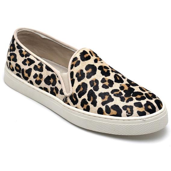 Sapatilhas Femininas Leopardo Marrom Redonda Couro Original