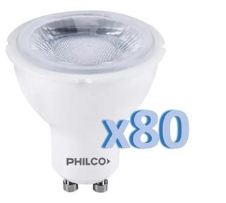 Pack X80 Dicroica Led Philco 5w = 40w 220v Gu10 Fria 6500k
