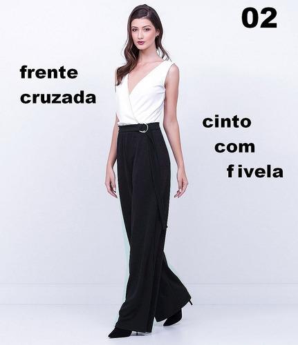 752bcdcd5 Macacão Feminino Com Cinto Longo Para Festas Lindos Modelos - R$ 149,00 em  Mercado Livre