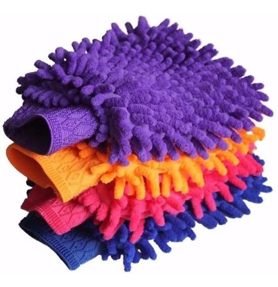 Kit 6 Luvas Microfibra Para Lavar Carro E Limpeza Doméstica