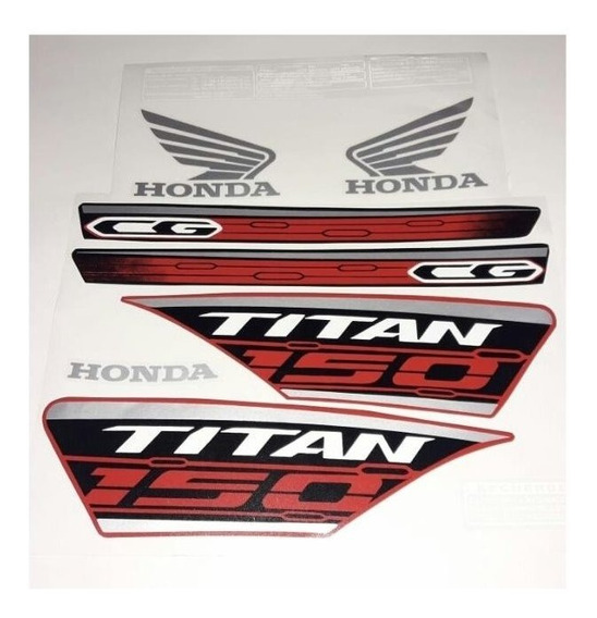 Calcos Honda Cg New Titan 150 2019 Negra Roja Gris Speed Mot