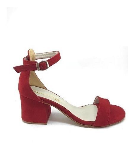 Zapato Mujer Sandalia Con Pulsera Gamuza Roja Lynch #463