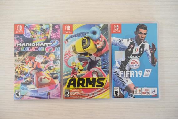 Pacote De Jogos Switch - Mario Kart, Arms, Fifa