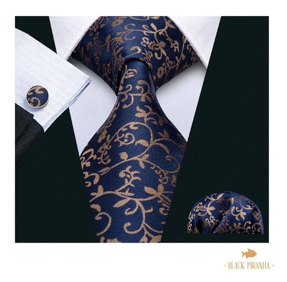 Corbata Pañuelo Y Mancuernillas Azul Marino Paisley Dorado