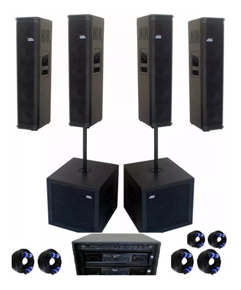 Kit Nhl Sonorização 6 Caixa Sub18 Line Array Amp 6k Completo