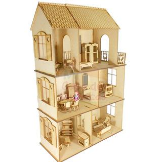Casa De Muñecas Con Muebles Incluidos Para Muñecas Pequeñas