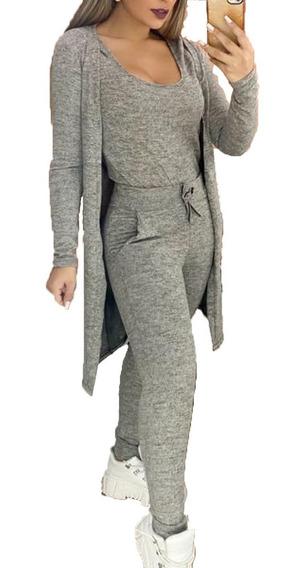 Conjunto Feminino Blusa Calça E Cardigã 3 Peças Inverno Frio