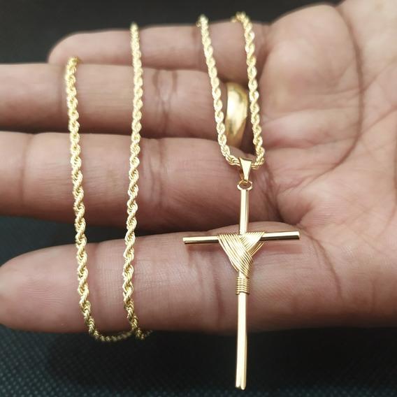 Corrente Masculina Cordão Baiano 60 Cm + Pingente Dourado