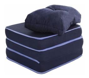 Puff Multiuso 3 Em 1 Solteiro Azul C/ Corvin E Travesseiro