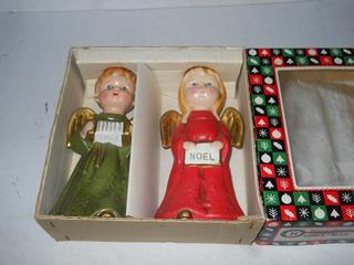 Par De Angelitos Navidad Christmas Caroliers Japon Vintage