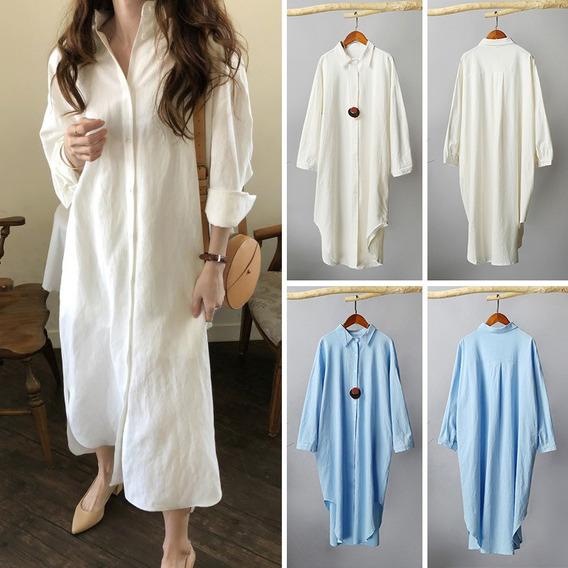 Vestido Largo De Algodón De Otoño Vintage Para Mujer Camisa