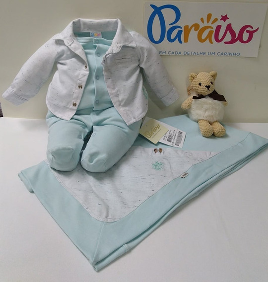 Saida Maternidade Menino Paraiso Moda Bebê Macacao Ref 8476