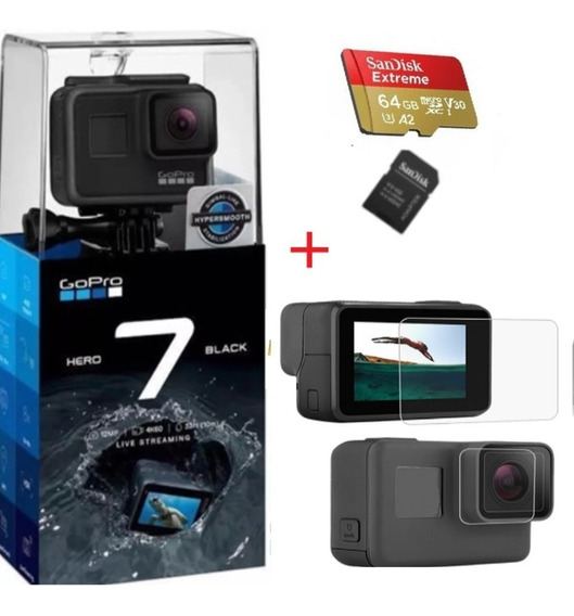 Câmera Gopro Hero7 Black4k+ Extreme 64gb+ Película Protetora