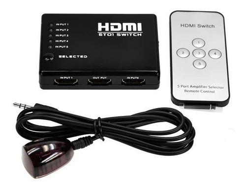 Imagen 1 de 6 de Switch Hdmi Selector 5 Entradas A 1 Salida + Control Remoto