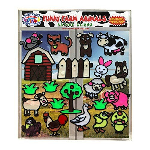 Funny Farm Animal Flexible Gel Clings - Cpsc Certified Safe