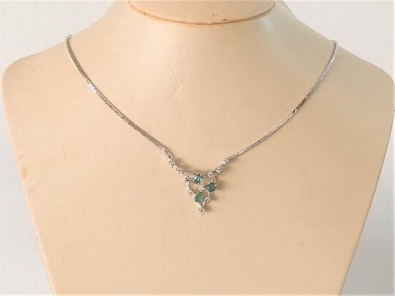 Gargantilha C/ Esmeraldas E Brilhantes Ouro 18 K 750 Luxo!