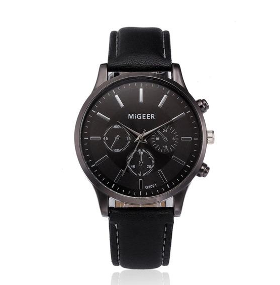 Relógio Masculino Pulseira De Couro Quartzo Social Militar Migeer 2021 Luxo Promoção