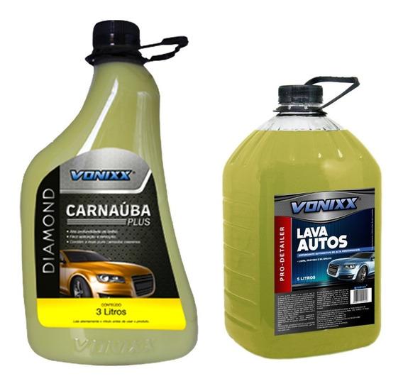 Kit Cera Automotiva Carnaúba Plus 3l Lava Autos 5l Vonixx