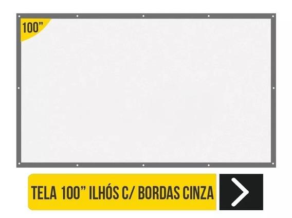 Tela De Ilhós Borda Cinza Datashow E Projetores 100 Polegada