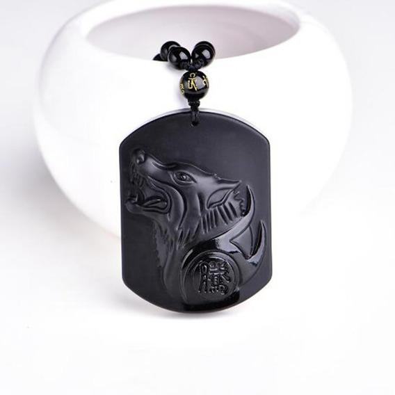 Collar Lobo Obsidiana Amuleto Negro Animal Proteccion