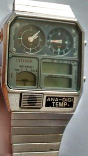 Reloj Citizen Ana Digi Temp Años 80 Acero Inox No Anda Leer