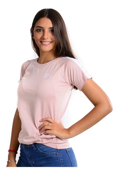 Remera Kappa Authentic Apan Rosa Blanco Mujer