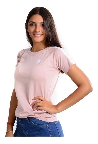 Remera Kappa Authentic Apan Rosa Blanco Mujer
