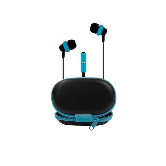 Fone De Ouvido Com Case E Microfone Azul Hands Free P2 Oex