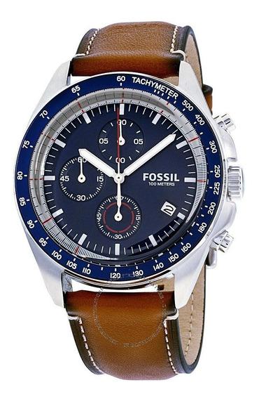 Relógio Fóssil Ch3039 Pulseira Couro + Lata