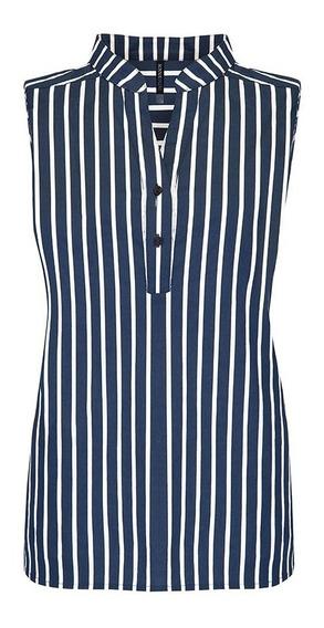 Blusa 109173 Camisa ALGòdo Azul Rayas Marinera Rinna Ofhiv8