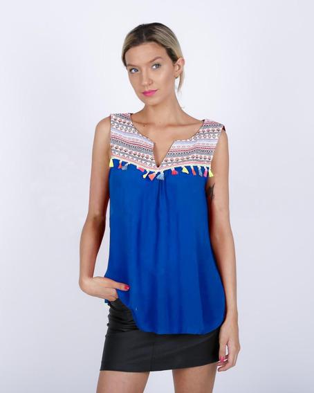 Remera Blusa Musculosa Flecos Bambula Azul