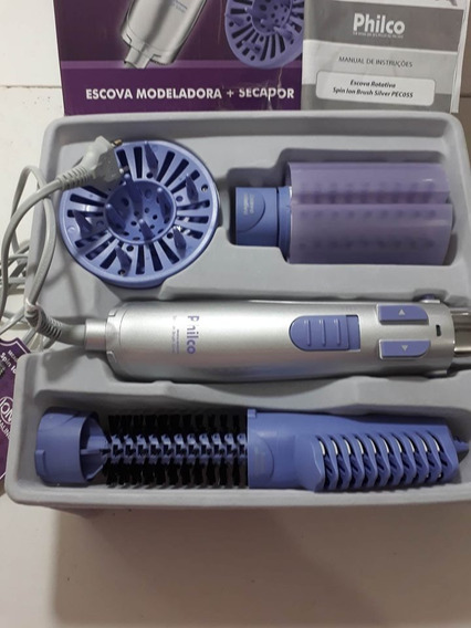 Escova Rotativa Philco Spin Íon Brush Silver Ver Descricao