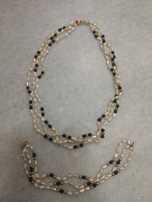 1fcb92f1e775 Collar Y Pulsera Perlas De Rio 3 Hilos Y Onix Oro 14 Kts