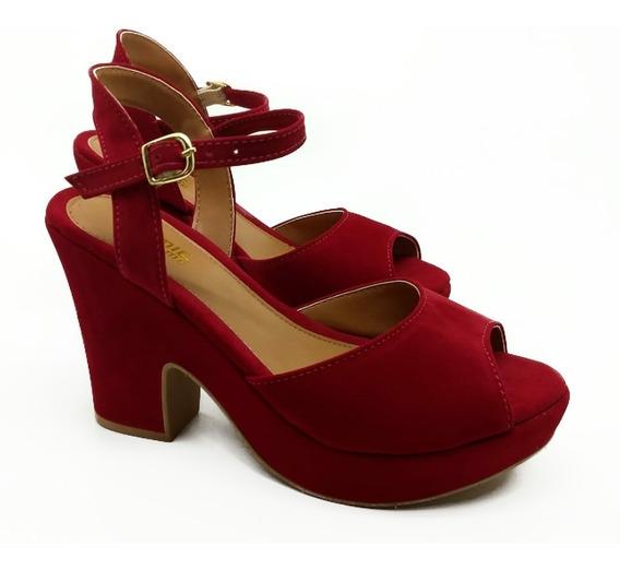 Sandalia Tratorada Feminina Sapato Salto Alto Anabela