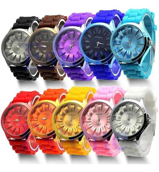 30 Relógios Feminino Unissex Pulseira Silicone Atacado