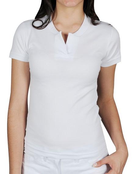 Camiseta Básica Feminina Branca Canelada Gola Padre Bu14