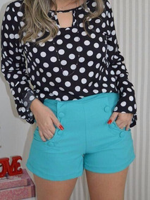 Short Cintura Alta C/ Botoes Tam M